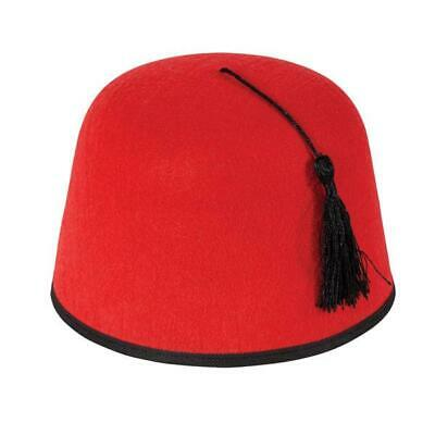 Red//Gold Arab Egyptian Sultan Magician Fancy Dress Cosplay Morroccan Fez Hat