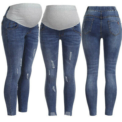 Womens Pregnancy Ripped Jeans Maternity Long Pants Denim Trousers Belly Leggings