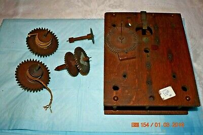 Antique Tall Case, grandfather clock wooden movement gears and plates for parts