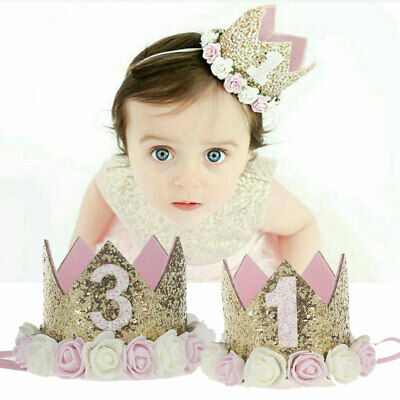 Baby Birthday Tiara Flower Crown Decoration Party Boy Headband Girl Princess