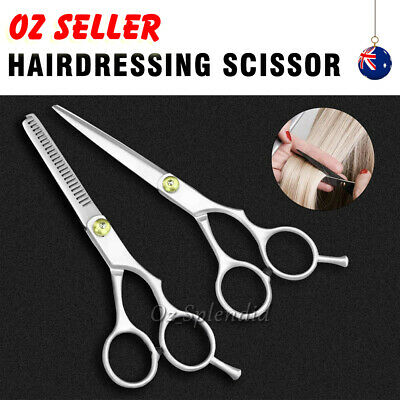 2 pcs 6'' Barber Shears Hair Cutting Thinning Scissors Professional Salon Set