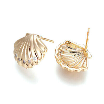 10pcs Brass Paved Cubic Zirconia Earring Posts Shell Conch 18K Gold Plated 10mm