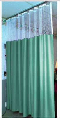 "Hospital Patient Privacy Curtain Sage With Top White Mesh 84"" L x 216"" W"