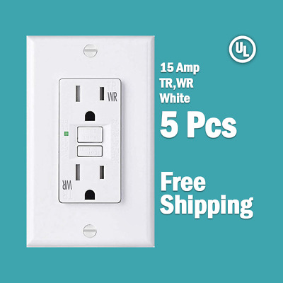 5 Pcs-15 AMP GFCI White Receptacle Outlet -TR & WR SELF TEST 2015 UL BF