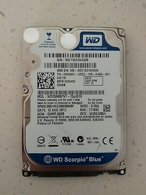 "Western Digital Blue 250GB Internal Hard Drive WD2500BPVT SATA 2.5"" Laptop HDD"