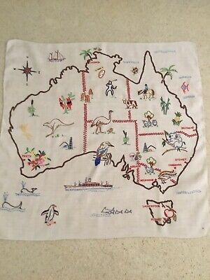 Map Australia ~Unique Native Flora,Fauna & Industry Hand Embroidered Tablecloth
