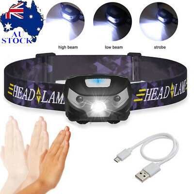 USB Rechargeable LED Head Torch Headlight Lamp CE Camping Induction Headlamp AU