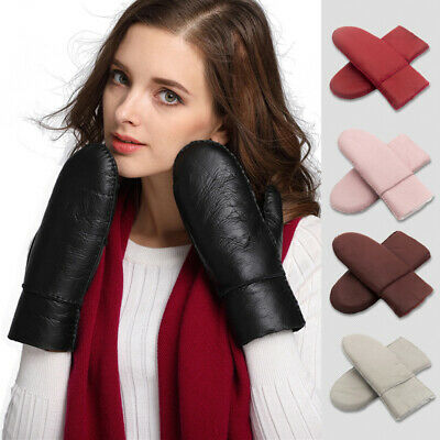 Women Genuine Sheepskin Mittens Thick Fur Cuff Gloves Outdoor Skiing Driving