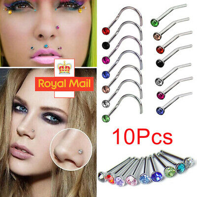 10Pcs Surgical Steel Small Gemstone Crystal Screw Perforation Nose Stud Ring NEW