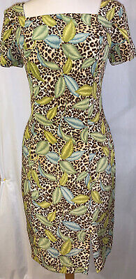 Adrianna Papell Womens Dress Size 6 Cheers Pattern Leaves 100% Silk