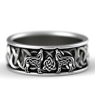 Norse 925 Silver Celtic Knot Wolf Ring Vintage Wedding Band Ring Jewelry GiftNEW