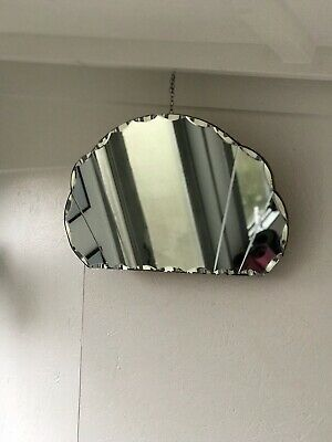Art Deco Fan Mirror With Lovely Etched Panels Very Old Marks Patina