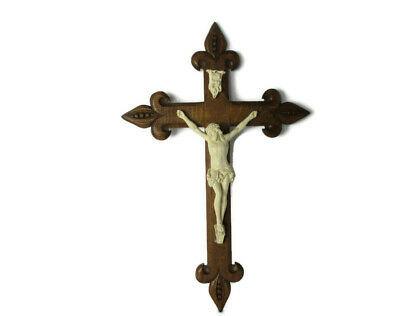 XL Hand Carved Wood Oak  Hanging Ornate Crucifix Plaster Corpus Jesus Christ