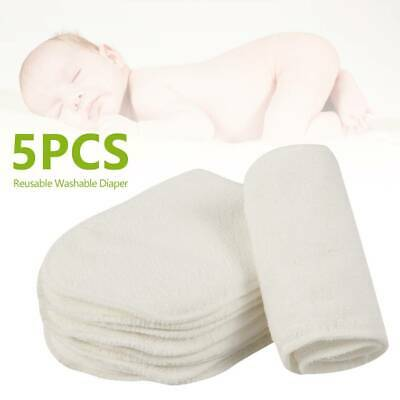 5Pcs Reusable Microfiber Baby Cloth Nappy Wipes Washable Inserts Boosters Liners