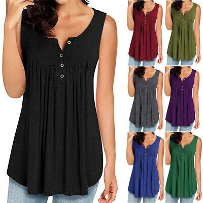 Womens Summer Spring Sleeveless V Neck Loose Casual Swing Shirts Flowy Tank Tops