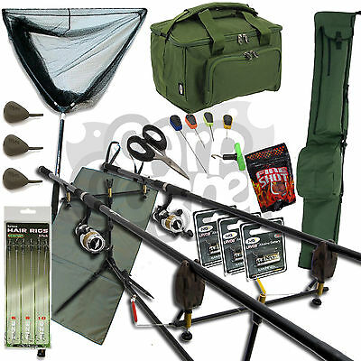 Completo Pesca de Carpa 2 Barra Set Up Carretes con Carry All Bolsa Pie Alarma