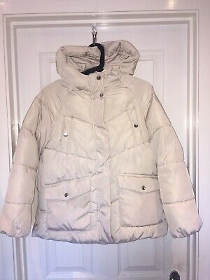 Girls ZARA Cream Puffa Coat Age 11-12y 152cm Zip Up GC