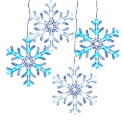 7 Piece 8 Function Blue/Cool White LED Snowflake Christmas Lights