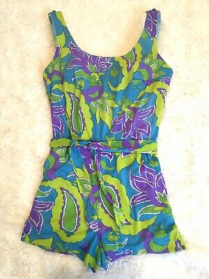 Vintage Mod 60's 70's Sand Castle One Piece Romper Bathing Swim Suit Sash Tie