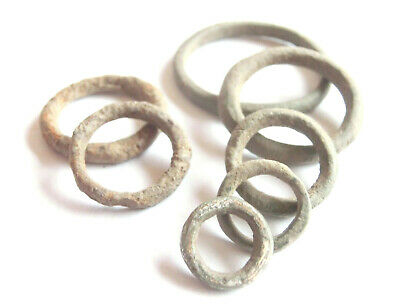 IRON AGE Ancient CELTIC Bronze Ring PROTO MONEY 7pcs - two Iron & one Silver