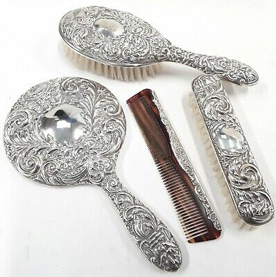 Beaitiful Antique 1903 Hallmarked Sterling Silver Hand Mirror Set by Bewlay & Co