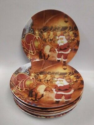 SET OF 7 Christmas Dessert Pie Plates SANTA WITH HIS REINDEER & SLEIGH ~ 8""