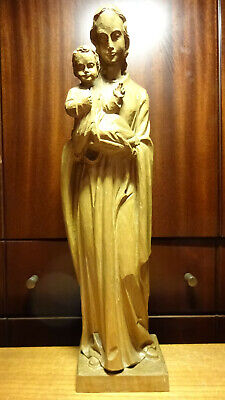 "✜ 16"" Antique Hand Carved Wooden Our Lady Virgin Mary + Jesus Statue Figurine ✜"