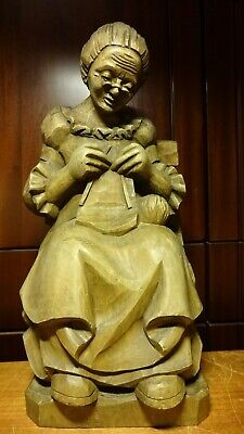 """Antique 16"""" German Hand Carved Wood Grandmother Woman Knitting Crochetng Statue"""
