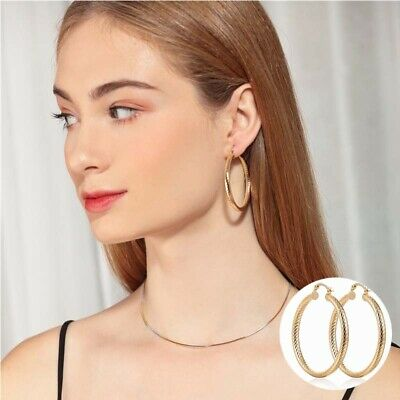 """Big L8 2.1"""" Hoop Gold Earrings Concave Bling Geometry Filled 18K Party"""
