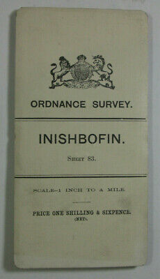 1905 Old OS Ordnance Survey Ireland One-Inch Second Edition Map 83 Inishbofin