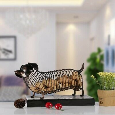 Metal Animal Statue Dachshund Wine Cork Container Modern Artificial Iron Cr I4E1
