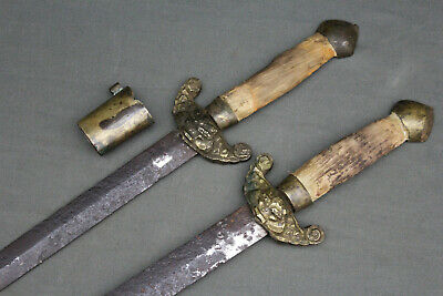 Antique Chinese shuang jian short swords - China, Qing dynasty