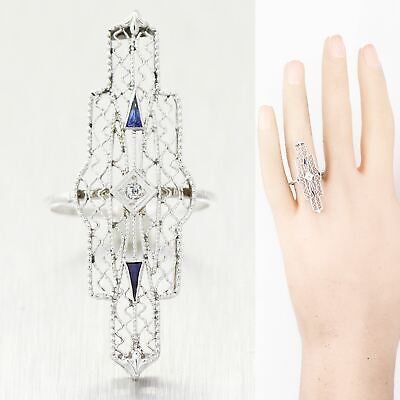 1930's Antique Art Deco 18k White Gold Sapphire & Diamond Filigree Ring
