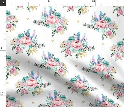 Floral Flowers Boho Pink Aqua Feathers Nursery Fabric Printed by Spoonflower BTY