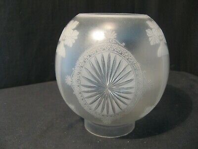 ORIGINAL 2  1/2 inch fit CUT AND ETCHED GLOBE for an OIL LAMP