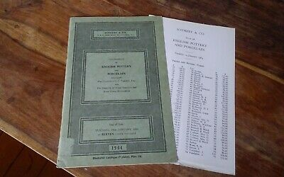 Vtg Sotheby's London catalogue & auction results 1964 English Pottery Porcelain