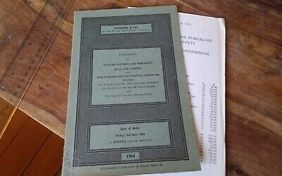 Vtg Sotheby's London catalogue auction results 1964 English Pottery Porcelain