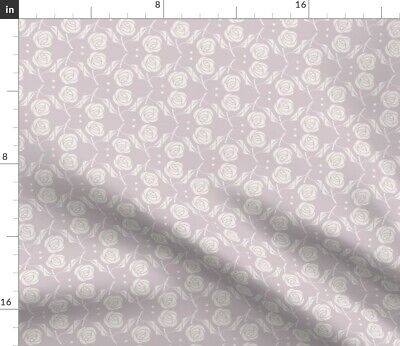 Rose Arts And Crafts Style Craftsman Lavendar Fabric Printed by Spoonflower BTY