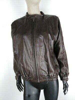 CAPPOTTO VINTAGE VERA PELLE MADE IN ITALY  Giubbotto Jacket Giacca Tg XL Donna