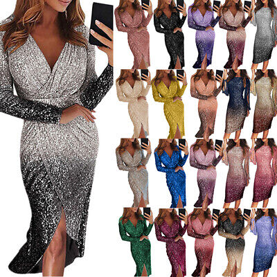 Womens Sequin V Neck Wrap Long Dress Bodycon Evening Cocktail Party Maxi Dress