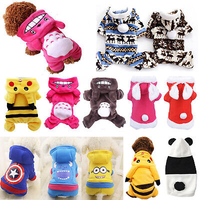Puppy Dog Winter Jumpsuit Clothes Apparel Cute Pet Jumpers Hoodie Coat Costume