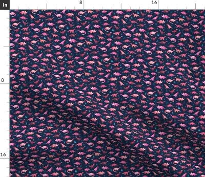 Tiny Dinosaurs Navy Blue Pink Coral Girly Geek Fabric Printed by Spoonflower BTY