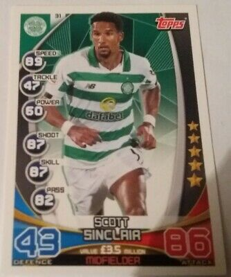 TOPPS Match Attax Trading Card - SPFL 2019/20 Scott Sinclair Celtic Card No.31