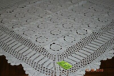 Hand Crocheted Tablecloth With Fan Border 32 Inch Square Off White