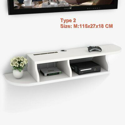 Home 2 Tier Floating Shelves Wall Mount Display Storage DVD Players CDs& Routers
