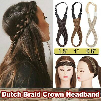 High Crown Braid Dutch Braids Real Natural Thick Soft Headband Hair Extensions