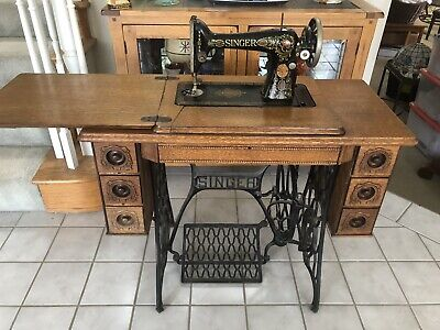 Antique Vtg Singer Treadle Sewing Machine Ornate Cabinet 7 Drawers Cast Iron