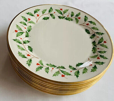 """Set Of 8 Lenox  Holiday 10.5"""" Dinner Plates Dimension Holly & Berry Design"""
