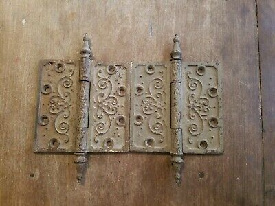 "Pair of Beautiful Vintage Eastlake Steeple Tip Door Hinges 5"" X 5"""