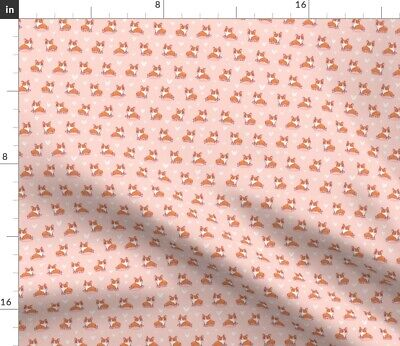 Corgi Love Hearts Dog Animal Blush Orange Fabric Printed by Spoonflower BTY